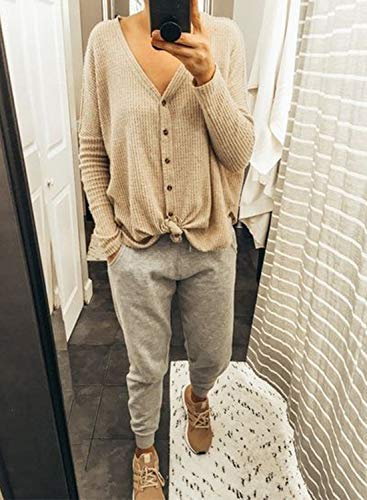 1f68a8d9d08 ... MIHOLL Womens Loose Blouse V Neck Button Down T Shirts Tie Front Knot Casual  Tops ...
