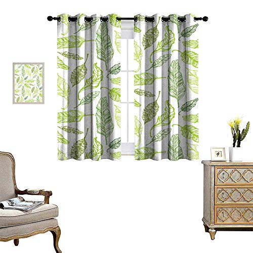 Mannwarehouse Blackout Curtains for Bedroom Hand Drawn Doodle Pattern with Palm Tree Leaves Tropical Leaves Drapes W55 x L72 ()