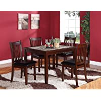 Roundhill Furniture Zoho 5PC Aritifical Marble Top Dark Cappuccino Finish Wood Dining Set