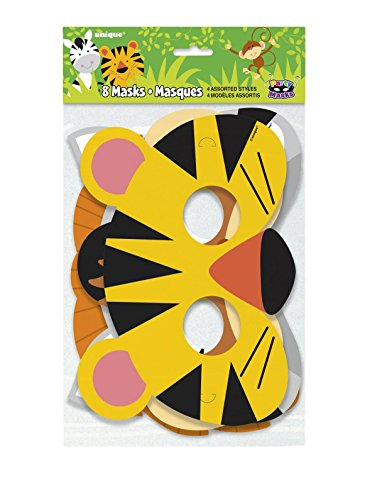 MA ONLINE Kids Jungle Assorted Party Mask Pack of 8 Animal Birthday Theme Party (Party Masks Online)