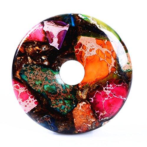 40mm Beautiful Gemstone Jasper Donut Pendant Bead DIY Jewelry Accessories For Necklace (Copper Multi-color Sea Sediment jasper)