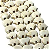 """Luxury & Custom {13 x 18mm w/ .5mm Holes} of Approx 8 Individual Loose Large Size Bear """"Gemstone"""" Beads Made of Genuine Magnesite Gemstone w/ Wild Forest Animals Design {White}"""