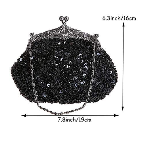 Sac Vintage De Diamant Black Mode Brodé Main Clutch De Perlée Sac Purse Mariée De Sequine Soirée Sac Sac YANXH À axwq857H4