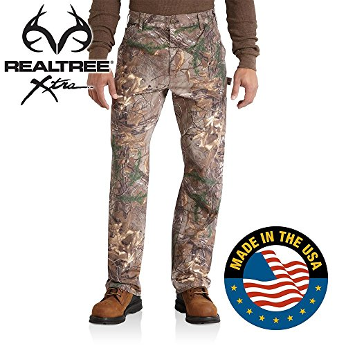 Mens Carhartt Camouflage - Carhartt Men's Camo Washed Duck Dungaree,Realtree Xtra,40 x 34