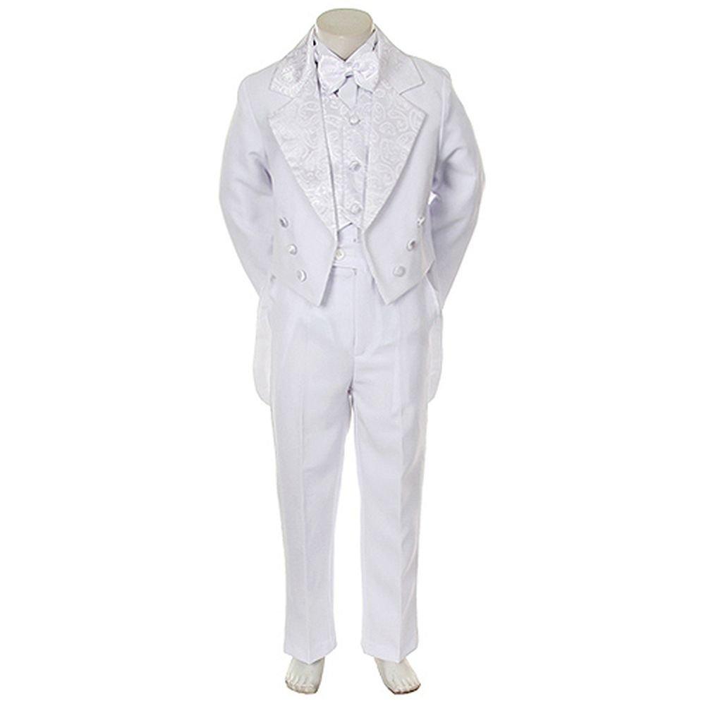 Angels Garment Infant Boys White Notched Tuxedo 5 Pc Set 24M