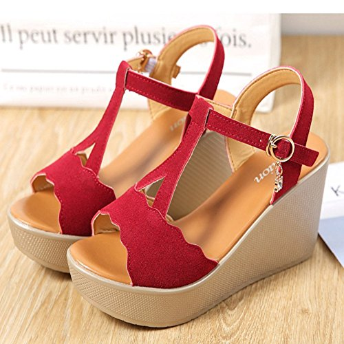 Pumps Slides Toe Sexy Claret1 Ankle Strap Heel JULY Platform Dressy Open Shoes Buckle On T Fashion Womens Slip High Sandals 6wUIwq8y