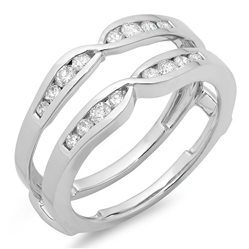 Dazzlingrock Collection 0.42 Carat (ctw) 14K Round Diamond Ladies Wedding Enhancer Guard Double Ring, White Gold, Size 7 (0.42 Ct Round Diamond)