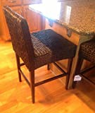 Seagrass Counter Stools 2 Seagrass Handwoven Counter Height Barstools - Dark