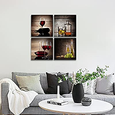 Buy Wieco Art Red Wine Cups Modern Kitchen Wall Art Dinning Room Wall Decor 4 Panels Abstract Canvas Prints Artwork Contemporary Vintage Pictures Paintings On Canvas Wall Art For Kitchen Home Decorations