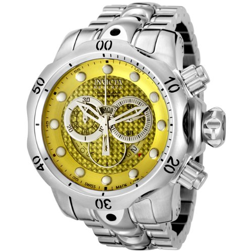 Invicta Men's 6715 Reserve Venom Collection Chronograph Yellow Dial Stainless Steel Watch (Chronograph Textured Dial Yellow)
