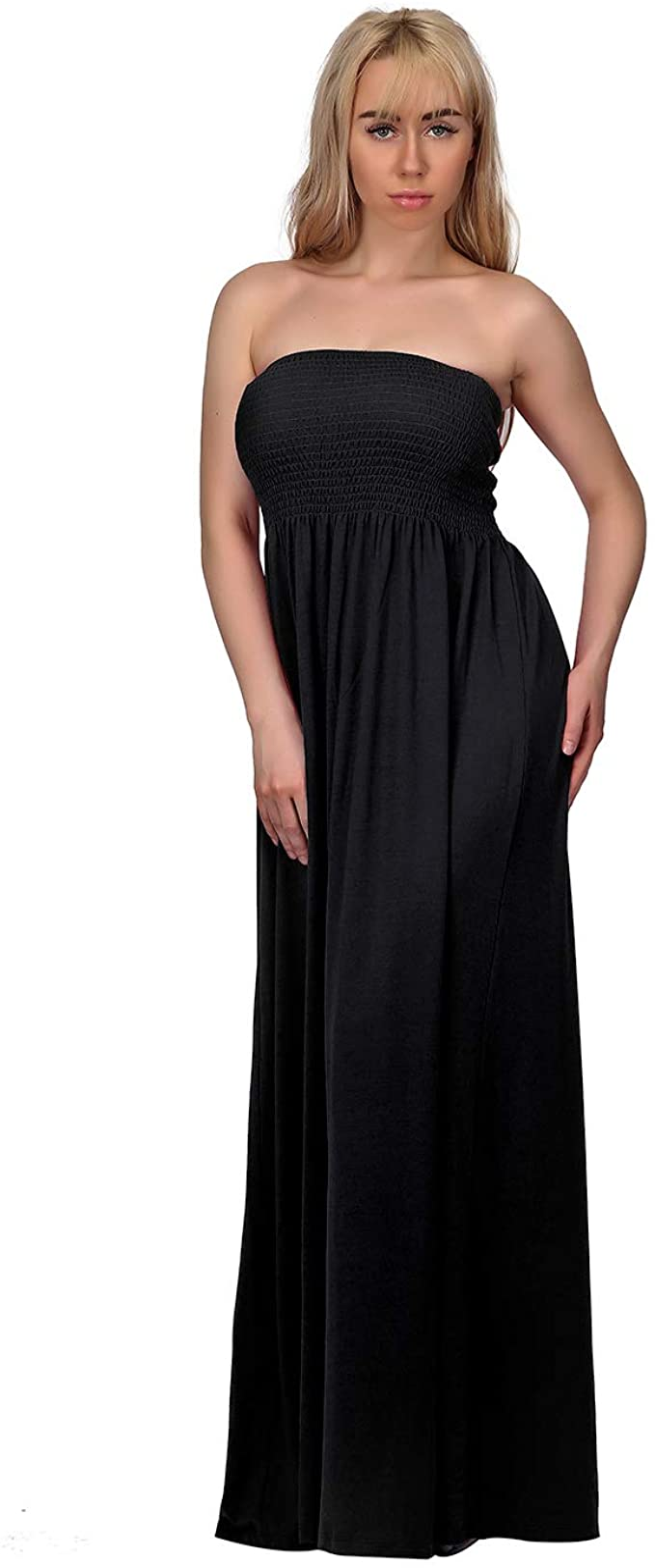 HDE Women\'s Strapless Maxi Dress Plus Size Tube Top Long Skirt Sundress  Cover Up
