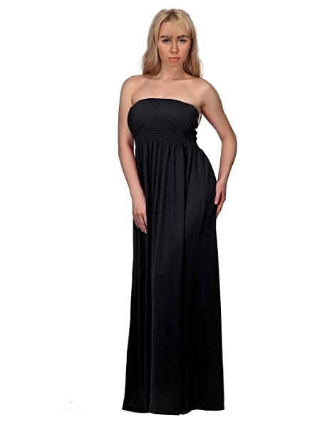 HDE Women\'s Strapless Maxi Dress Plus Size Tube Top Long Skirt Sundress  Cover Up