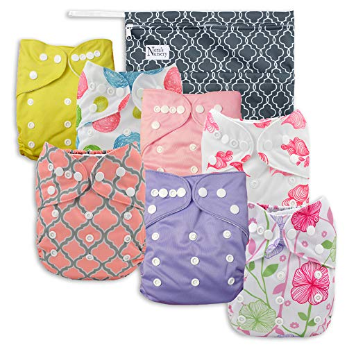 - Pink Blossom Baby Cloth Pocket Diapers 7 Pack, 7 Bamboo Inserts, 1 Wet Bag by Nora's Nursery