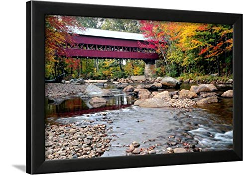 ArtEdge Covered Bridge Over The Swift River, Conway, NH by George Oze, Black Wall Art Framed Print, 16x24, Unmatted