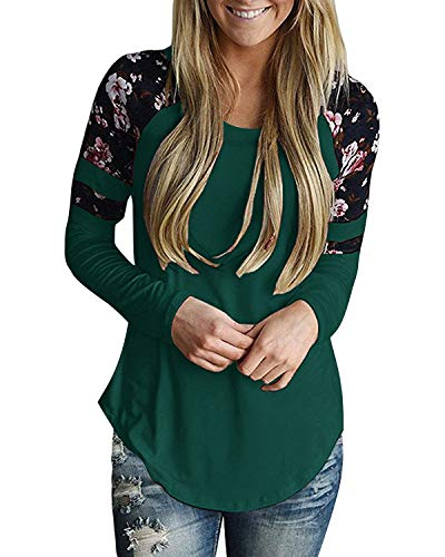 Print Green Floral (GADEWAKE Womens Casual Floral Print Color Block Long Sleeve T Shirts Blouses Tops)