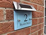 MODERN HOUSE SIGN PLAQUE DOOR NUMBER STREET GLASS EFFECT BABY BLUE SOLAR LED