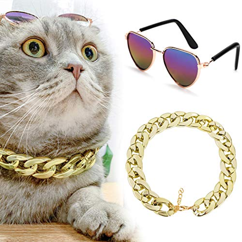 Legendog Cool Cat Dog Costume Fashion Metal Pet Dog Collar Cat Sunglasses Pineapple Print Dog Shirt for Cats and Small Dogs Adjustable Gold Dog Puppy Chain Collar Set (Multicolor1)