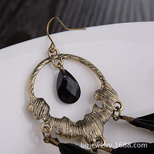 Carfeny Bohemian Black Feather Tassel Dangle Earrings Vintage Gold ...