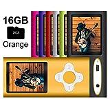 G.G.Martinsen MP3/MP4 Player with a 16GB Micro SD Card, Mini USB Port 1.8 LCD, Digital Music Player, Media Player, MP3 Player, MP4 Player, Support Photo Viewer- Orange