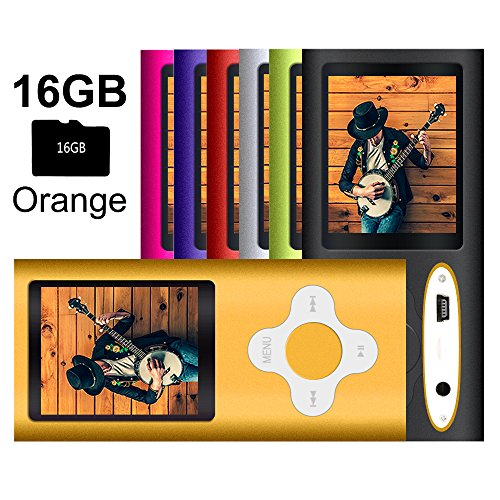 G.G.Martinsen MP3/MP4 Player with a 16GB Micro SD Card, Mini USB Port 1.8 LCD, Digital Music Player, Media Player, MP3 Player, MP4 Player, Support Photo Viewer- Orange