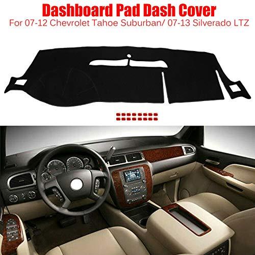 BLACKHORSE-RACING Dashboard Pad Dash Cover for 2007-2012 Chevrolet Tahoe Suburban/ 2007-2013 Silverado LTZ Dash Board Cover Mat