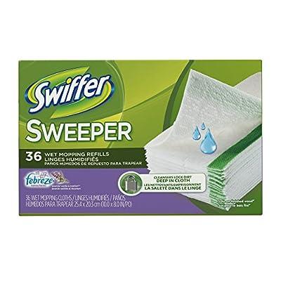 Swiffer Sweeper Wet Mopping Pad Refills for Floor Mop with Febreze Lavender Vanilla & Comfort Scent 36 Count
