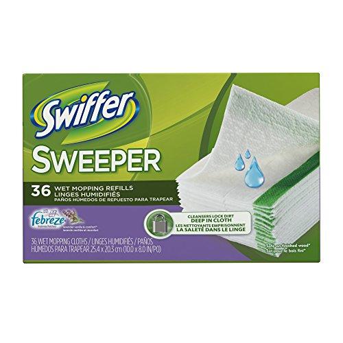 Swiffer Sweeper Wet Mopping Pad Refills for Floor Mop with Febreze Lavender Vanilla & Comfort Scent 36 Count ()