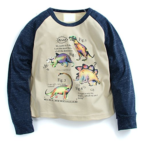 Boys Long Sleeve Crewneck T-shirt (Fiream Boys' Cotton Crewneck Long Sleeve Cartoon T-shirt(1106,6T))