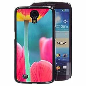 A-type Arte & diseño plástico duro Fundas Cover Cubre Hard Case Cover para Samsung Galaxy Mega 6.3 (Tulip Poppy Green Pink Spring Nature)