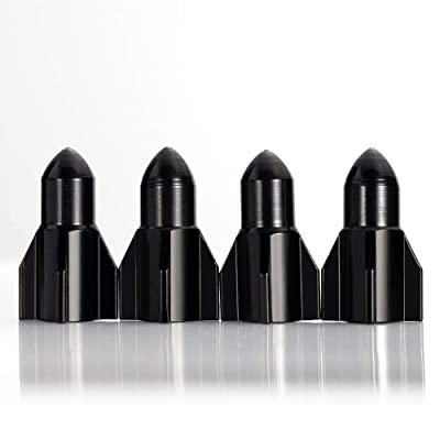Soniubia 4 PCS Metal Dust Cover Tire Valve Stem Caps Replacement Accessories Suitable for SUV Car Vehicle Bicycle Truck Bicycle Motorcycle(Black): Automotive