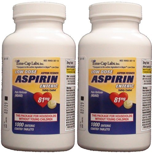 Aspirin Adult Low Dose Enteric Coated 81 mg Generic for Bayer Aspirin Low Dose 1000 Tablets Per Bottle Pack of 2 by Time Cap Labs