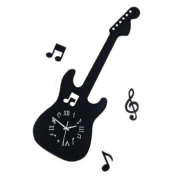HOUYUANSHUN DSC Reloj De Pared Notas De La Guitarra Reloj De Pared Creativo Sala De Estar Dormitorio Relojes Mudos Reloj De Cuarzo De Hierro Decorativa ...