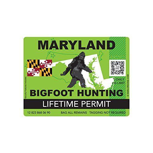 Maryland Bigfoot Hunting Permit Sticker Die Cut Decal Sasquatch Lifetime FA Vinyl
