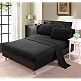Unique Home Ultra Soft Sheet Set - Fade Resistant, Wrinkle Free, No Ironing Necessary, Hypoallergenic - Luxury Bed Linens - 1500 Thread Count Microfiber Sheet Set (QUEEN, Black)
