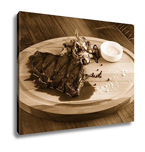 Ashley Canvas Denver Steak With Salad, Home Office, Ready to Hang, Sepia 20x25, AG6388390