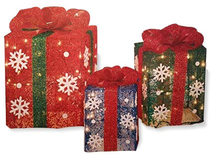 light up gift boxes set of 3 outdoor christmas decorations 14 12 - Christmas Gift Box Decorations