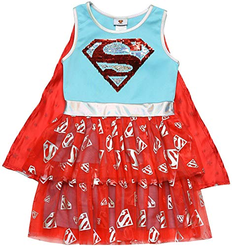 DC Comics Costume Dress Up Sequin Logo Cape Girls (Supergirl, Small)]()
