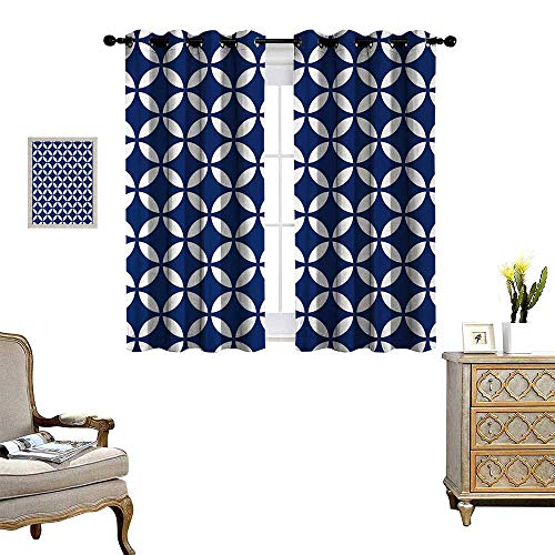 - Navy Thermal Insulating Blackout Curtain Vintage Circles with Overlapping Rounds Oval Figures Old Fashion Graphic Art Patterned Drape for Glass Door W55 x L72 Royal Blue White