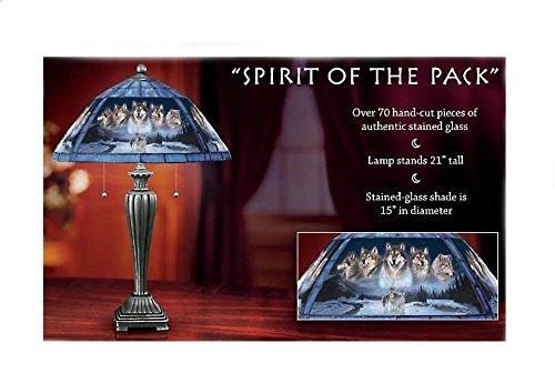 (Retired Bradford Exchange Spirit of the Pack Wolf Art Table Lamp, Artist Al Agnew Design)