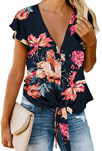 - Short Sleeve Tops for Women Summer V Neck Button Down Shirts Tie Front Knot Henley Tops Loose Blouses Floral Blue XXL
