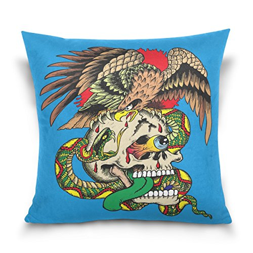 (ALAZA Double Sided Crazy Skull with a Snake and an Eagle Cotton Velvet Throw Pillow 18x18 Inch Zipper Pillowcase for Decorative Pillows)