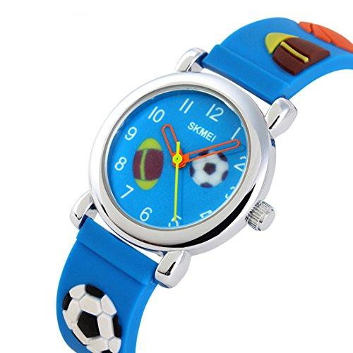 GRyiyi Kid's Outdoor Carton Waterproof Wrist Watch Time Teacher for Children 3D Rubber Band, Deep Blue by GRyiyi (Image #4)