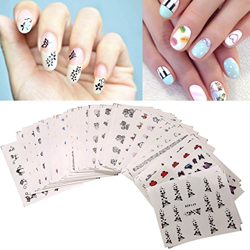 Amazon.com: Acrylic Nail Stickers Gel Nail Stickers - 50Pcs Colorful ...