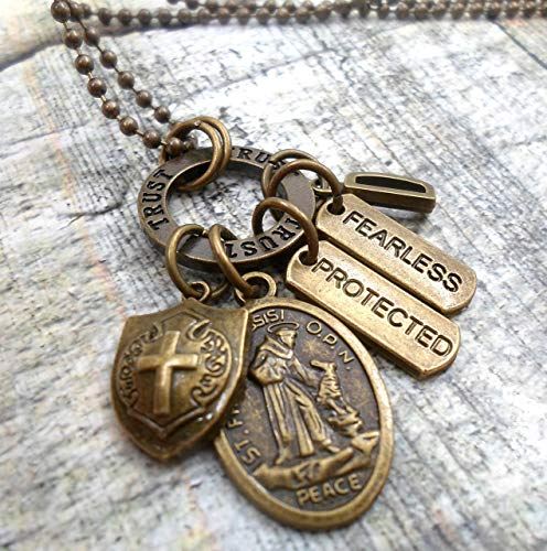 St. Francis Peace Prayer Amulet Necklace, Backpack Clip or Keychain, Saint Francis of Assisi, Protected, Fearless, Teens, Men, Unisex