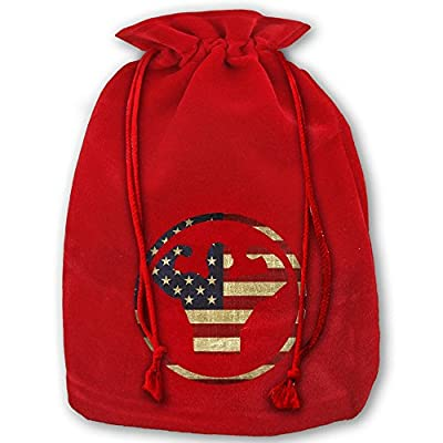 Bodybuilding US America Flag Christmas Holiday Drawstring Gift Bags Santa Sack
