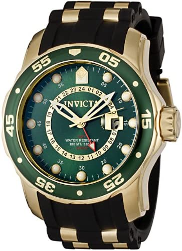 Invicta Men s Pro Diver Collection GMT 18k Gold-Plated Stainless Steel Watch with Black Band