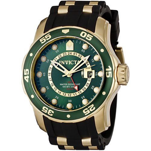Invicta Men's 6994 Pro Diver Collection GMT Green Dial Black Polyurethane Watch (Sunray Dial Green)