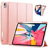 Ztotop Case for iPad Pro 11 Inch 2018 with Pencil Holder- Lightweight Soft TPU Back Cover and Trifold Stand with Auto Sleep Wake - Support 2nd Gen iPad Pencil Charging - Rose Gold