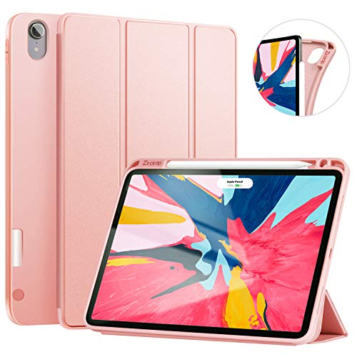 Ztotop Case for iPad Pro 11 Inch 2018 with Pencil Holder- Lightweight Soft TPU Back Cover and Trifold Stand with Auto Sleep/Wake,Support 2nd Gen iPad Pencil Charging,Rose Gold