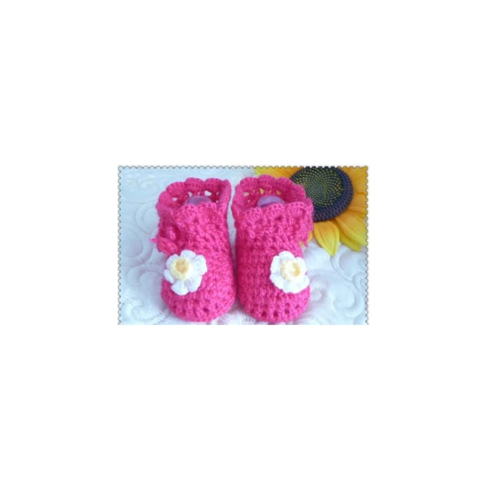 Crochet Baby Toddler Shoes Baby Girl Crochet Knit Flower Sandals Infant Red Color 1pair